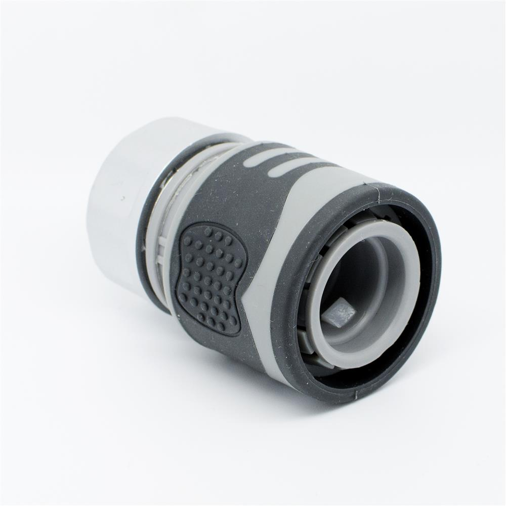 "Quantum Garden - White Line - 1/2"" or 5/8"" Quick Hose Connector With STOP -SOFT TOUCH"